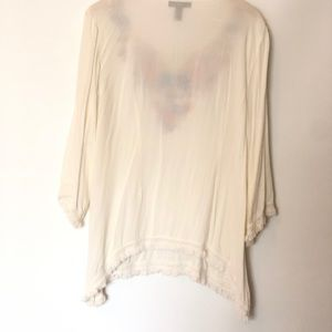 Style & Co Tops - Style&co Ivory embroider shirt